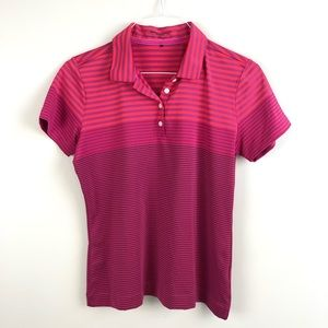 Nike Golf Dri Fit Polo Shirt Short Sleeve Red Pink